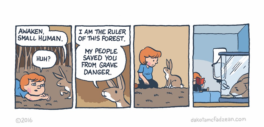 Panel 1: (Boy wakes up in forest, face scratched.)  Rabbit: Awaken, small human.  Child: Huh?   Panel 2:  Rabbit: I am the ruler of the forest. My people saved you from the grave.  Panel 3: (Boy sits up, looks at rabbit.)   Panel 4: (Rabbit is now boy's pet, sad.)