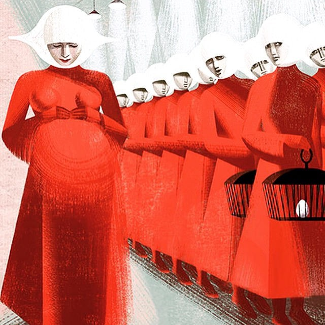 An illustration showing Handmaids in their red dresses and white bonnets. One is pregnant.