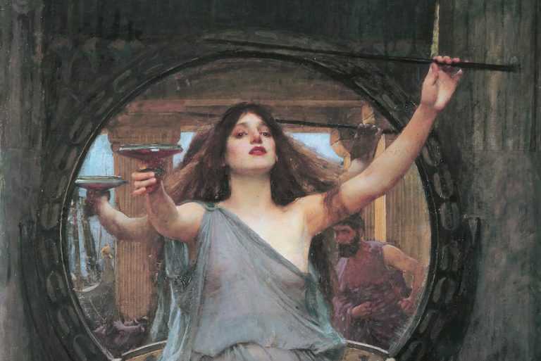 Painting of Circe in classical dress holding a sword and cup