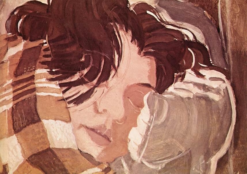 Watercolor of a sleeping woman