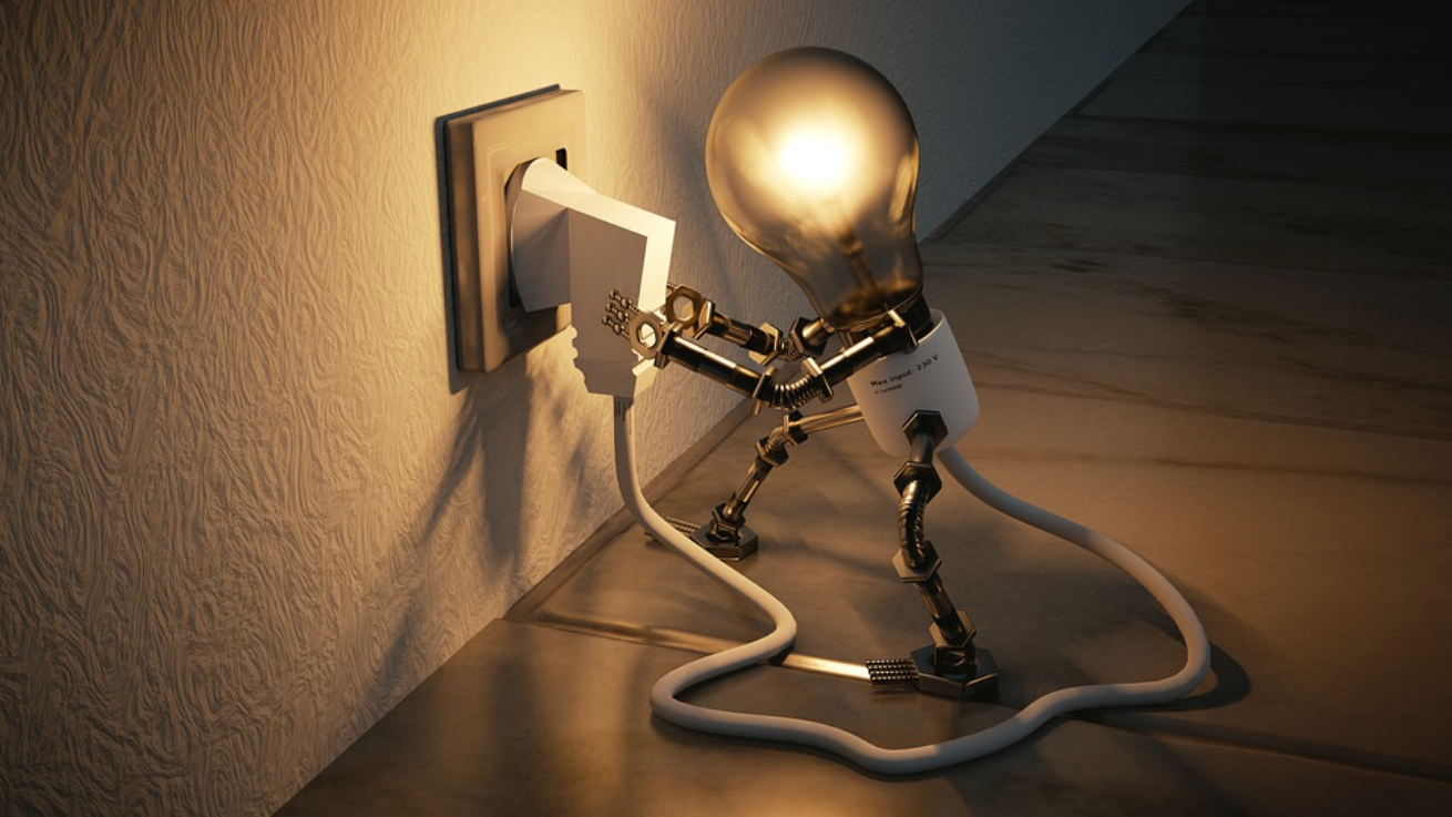 Self-employed androgynous lightbulb