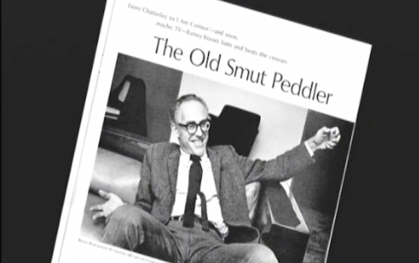 "Magazine spread showing Barney Rosset with the headline ""The Old Smut Peddler"""