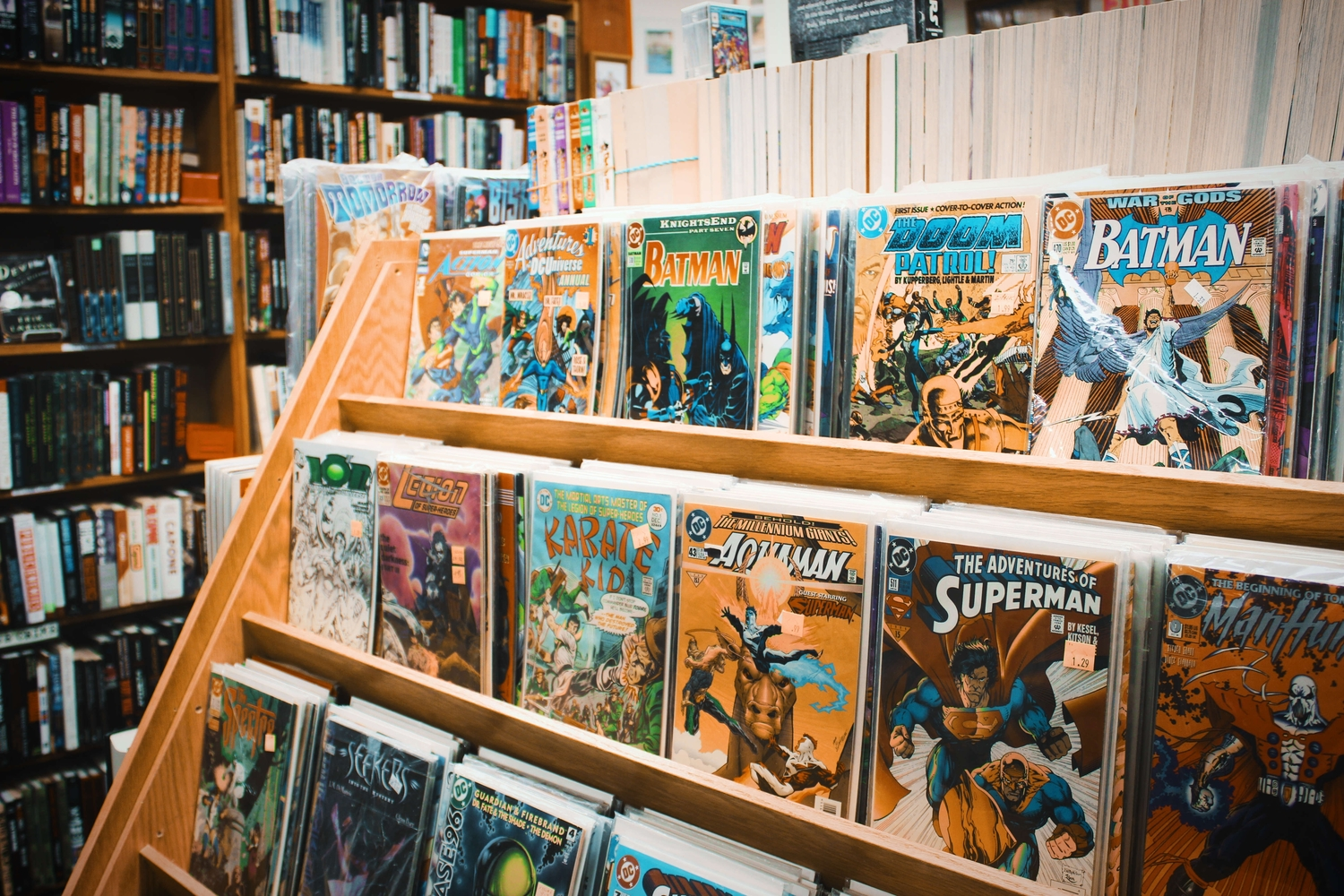 Comic books on shelf