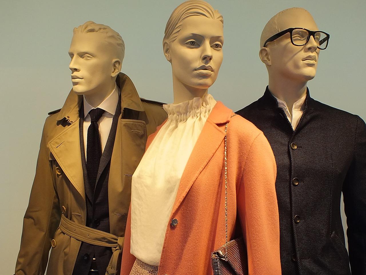 Three department store mannequins