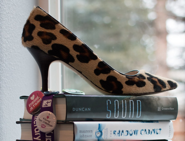 Leopard print shoe on stack of books, photo by ktbuffy