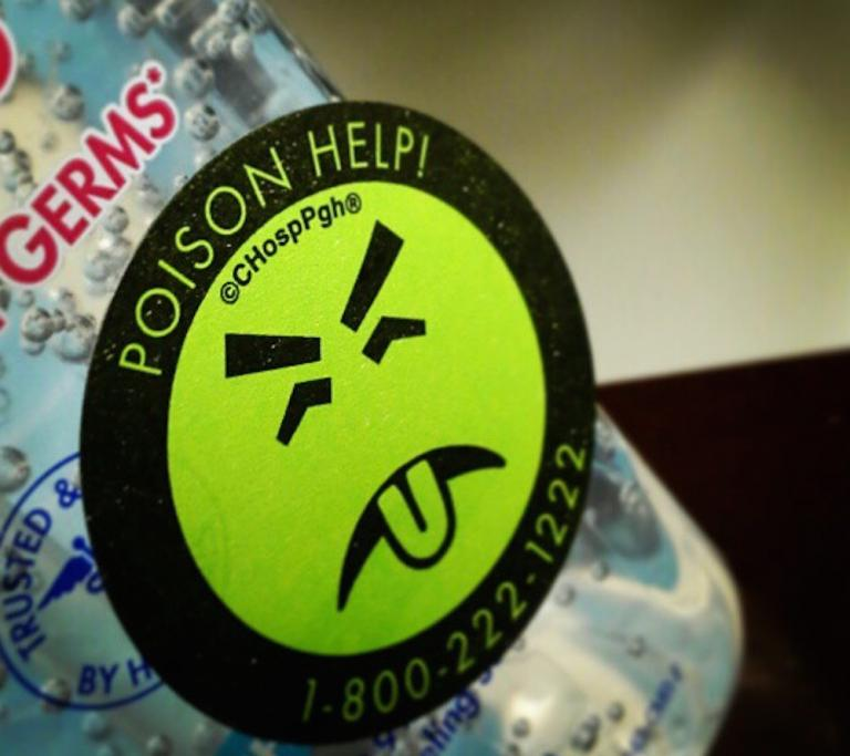 "Poison sticker with green ""yuck"" face"