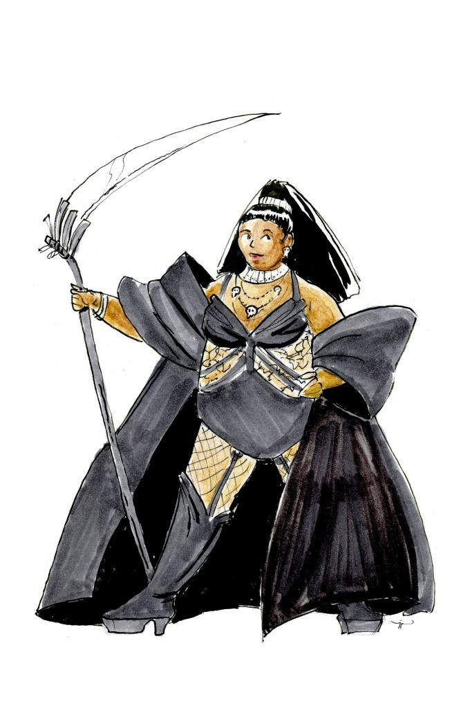A fashion drawing of Lizzo wearing lacy lingerie, a robe, and a necklace of skulls, and carrying a scythe