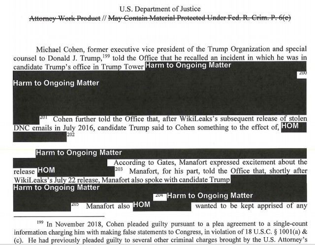 Redacted page of the Mueller report