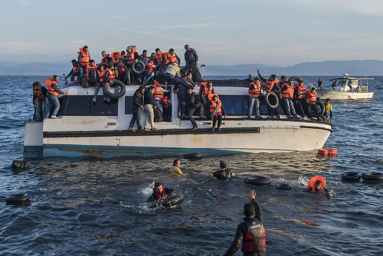 Syrian and Iraqi Refugee arrive by boat in Greece