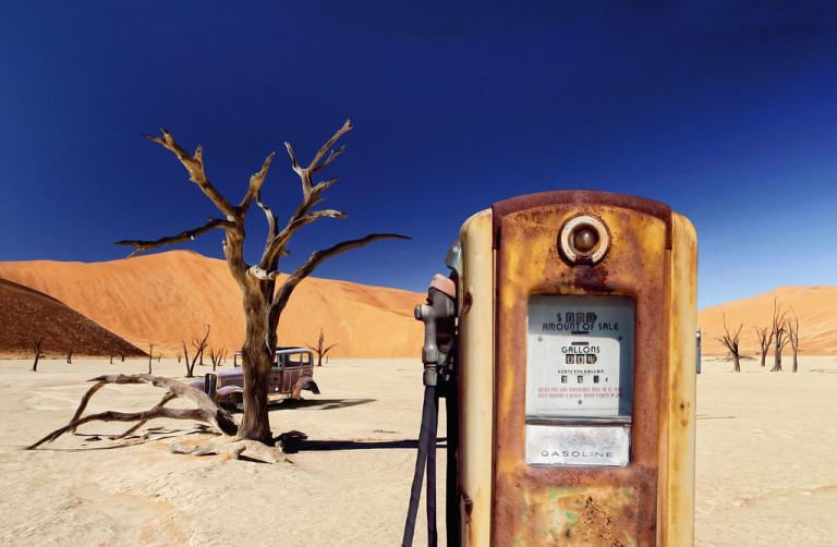 gas station pump in desert