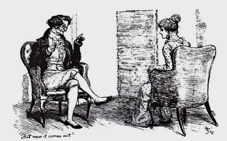sketch of Mr. Darcy and Elizabeth Bennet