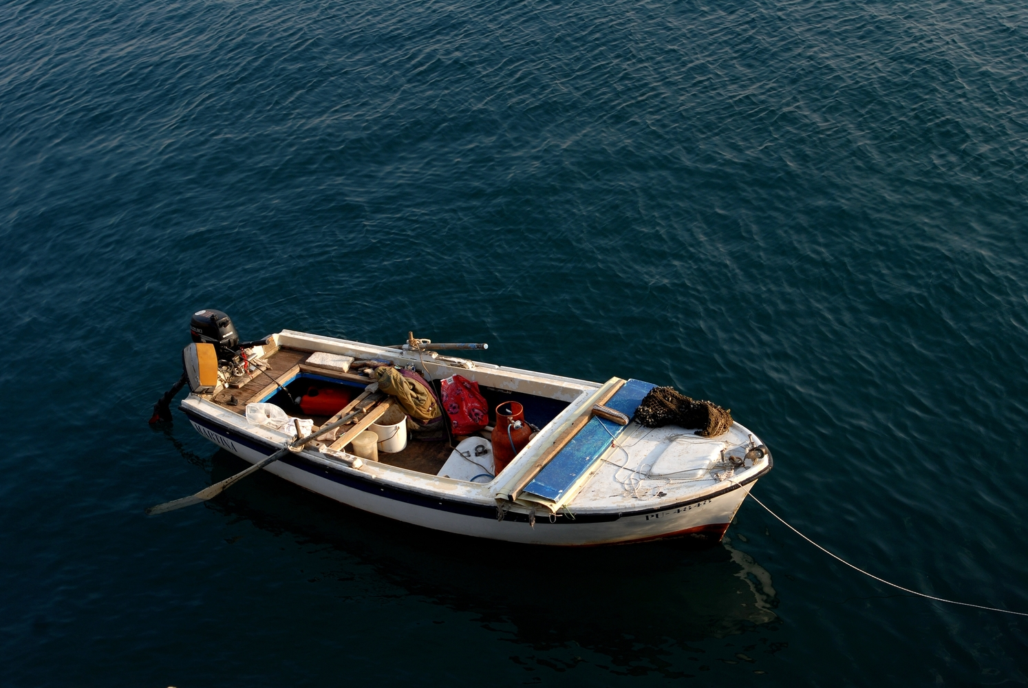 Small boat in the Adriatic sea