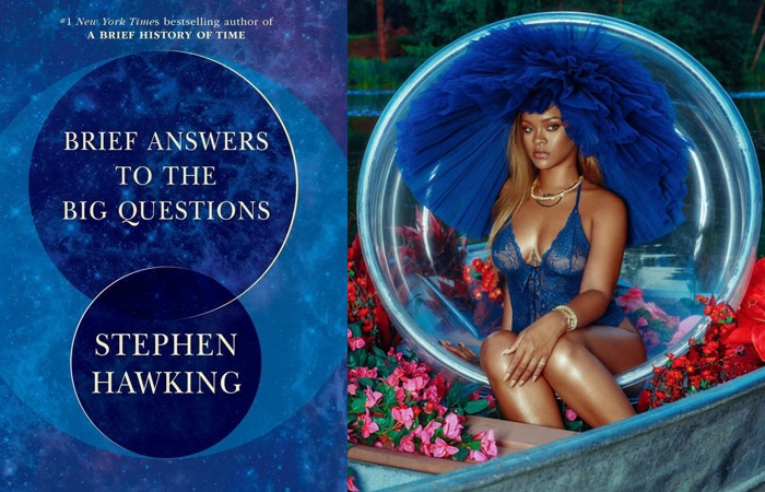 "Stephen Hawking's ""Brief Answers to the Big Questions,"" with two interlocking blue circles, and Rihanna in blue with a large round tulle headdress seated in a bubble"
