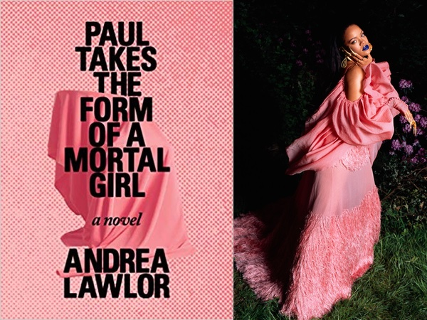 "Andrea Lawlor's ""Paul Takes the Form of a Mortal Girl,"" with a pink draped figure on a pink background, and Rihanna in a pink draped gown"