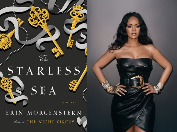 "Erin Morgenstern's ""The Starless Sea,"" with gold keys and silver ribbons on a black background, and Rihanna wearing a black leather dress with gold and silver hardware"