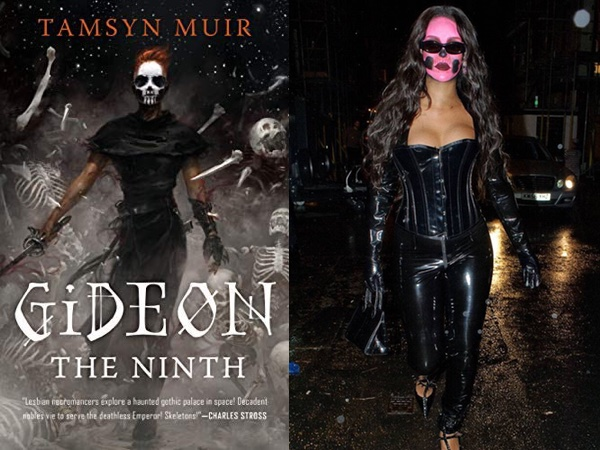 "Tamsyn Muir's ""Gideon the Ninth,"" featuring a woman in black with skull face paint, and Rihanna in black with skull face paint"