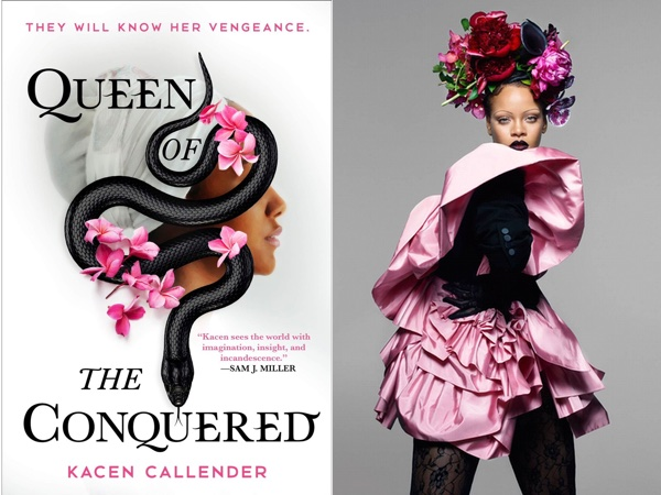 "Kacen Callender's ""Queen of the Conquered,"" with a profile of a woman in a white head wrap with pink flowers and a black snake, and Rihanna in a pink ruffled dress with black gloves and flowers around her head"