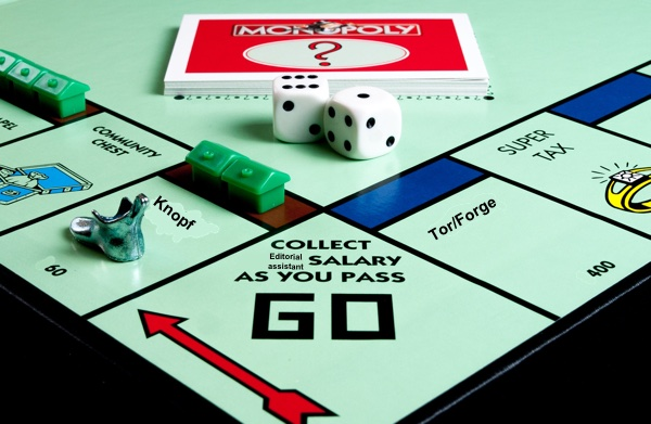 Monopoly board altered to use names of presses and imprints as properties