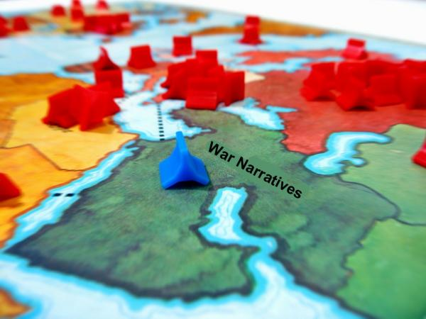 "Risk board altered so that the Middle East is labeled ""War Narratives"""