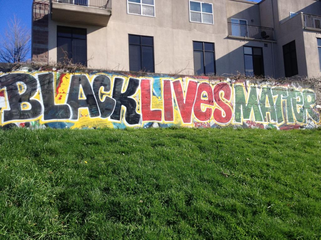 Black Lives Matter spray painted on a wall
