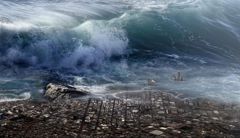 Tsunami crashing on a city