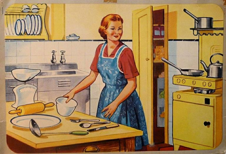 illustration of woman in 1950s kitchen