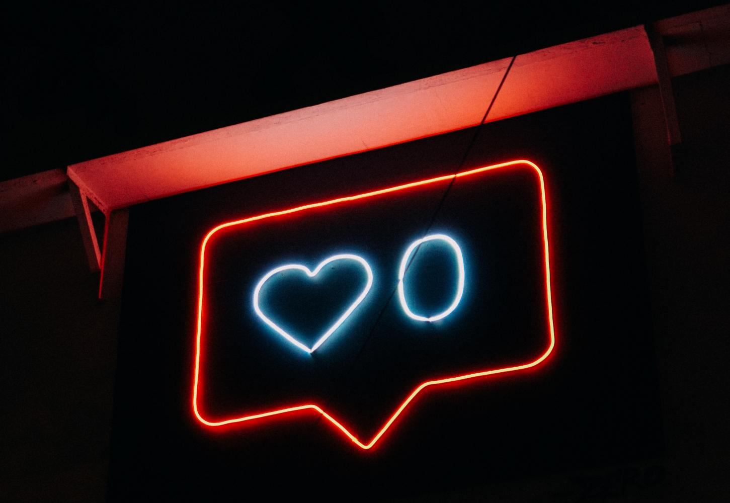Instagram like in neon sign