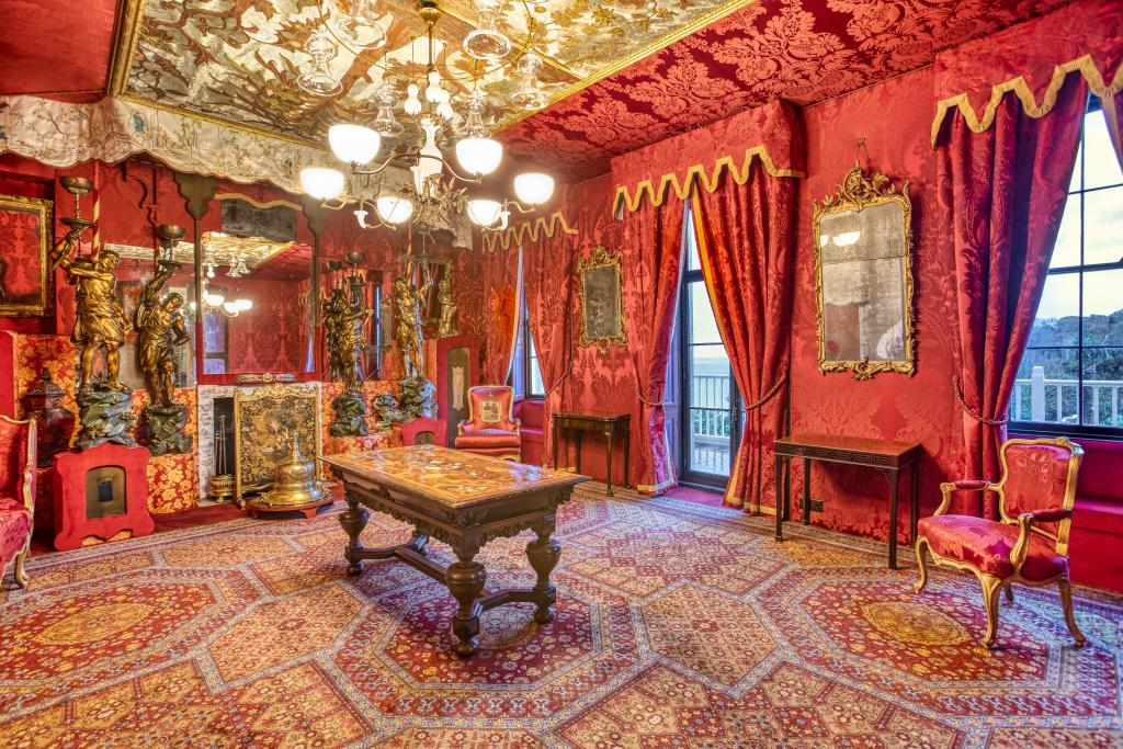 Ornately decorated red room in Hauteville House