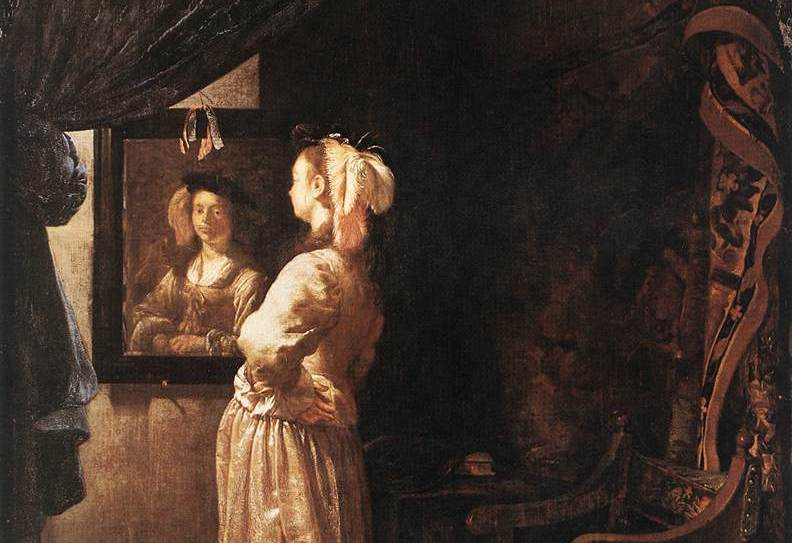 Woman before the Mirror by Frans van Mieris the Elder via Wikimedia