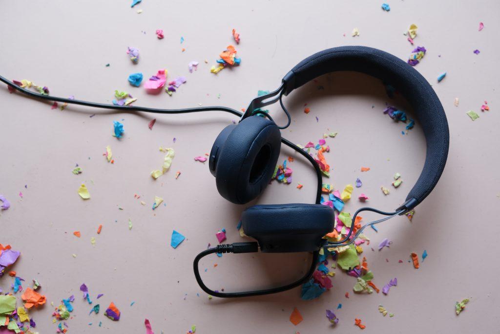 Headphones and confetti