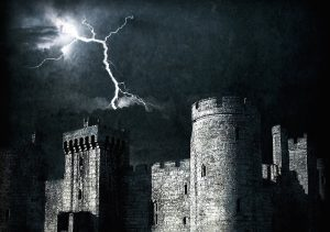 Castle with lightning strike