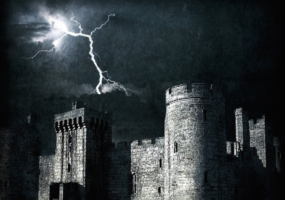 Castle with lightning strike