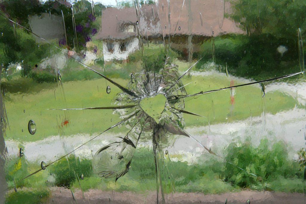 Window with heart-shaped hole