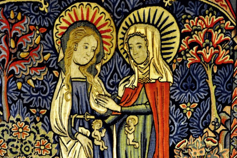 Two pregnant women in a medieval tapestry