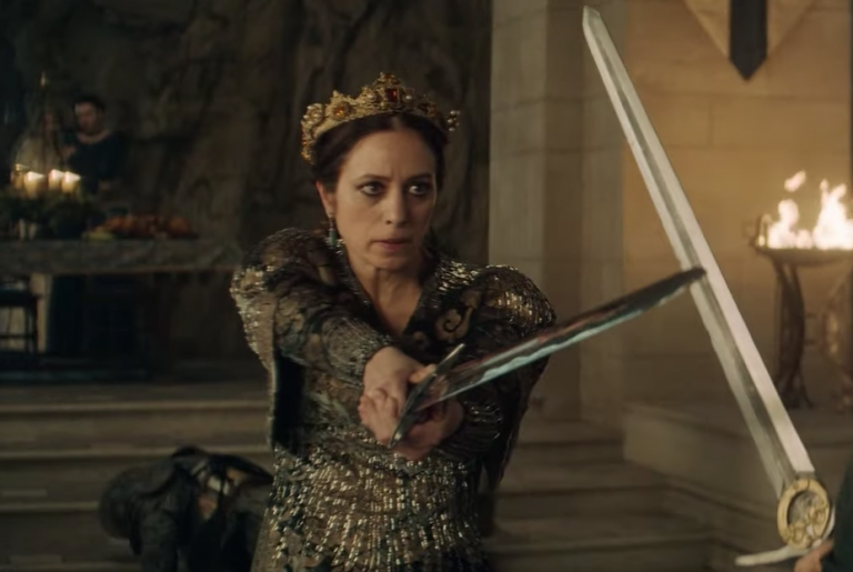 Queen Calanthe from the Witcher holds a sword