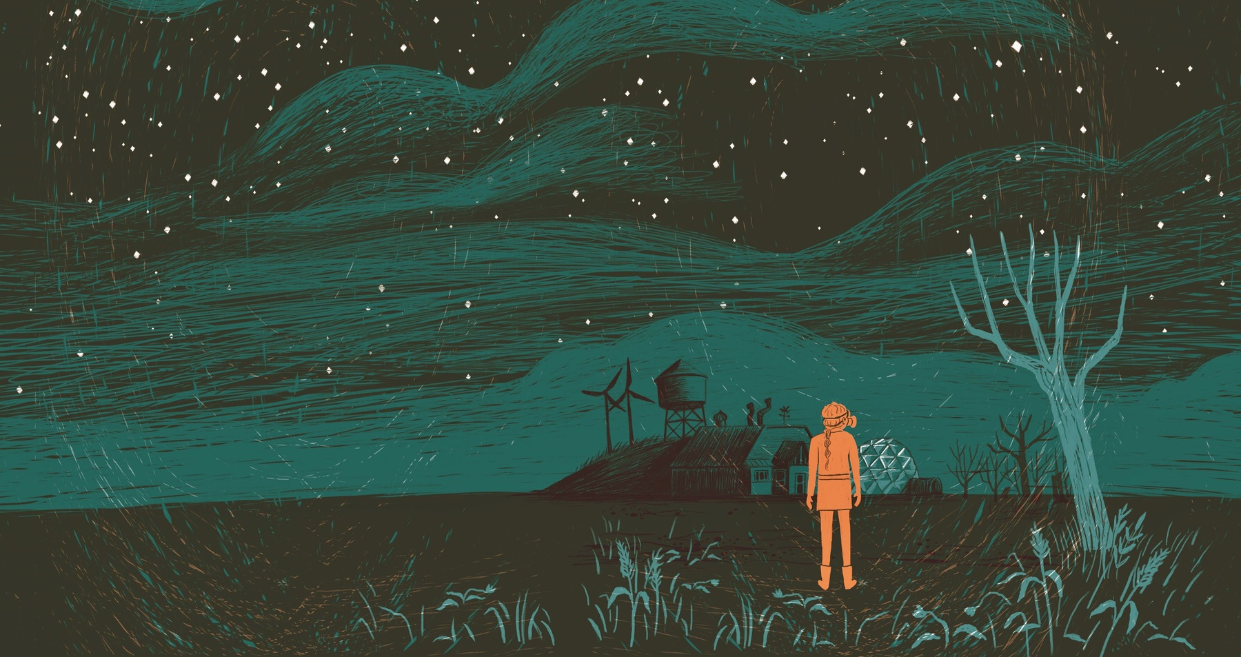 illustration of woman standing under stars