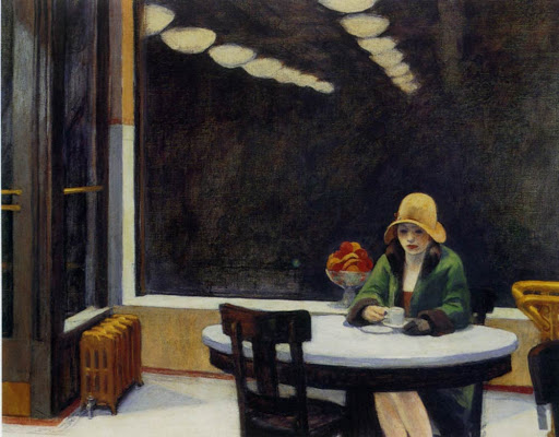 painting of a woman alone at a table