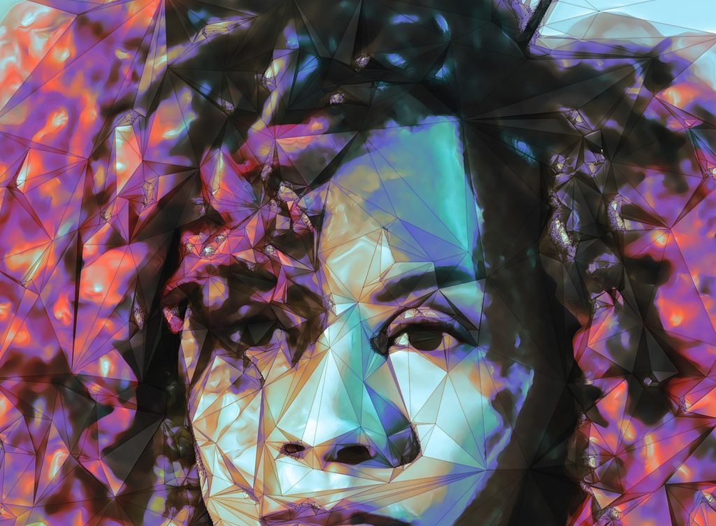 Photo manipulation of a young Black woman featuring polygons and bright colors