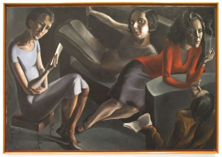 Painting of four women lounging on couches, some reading