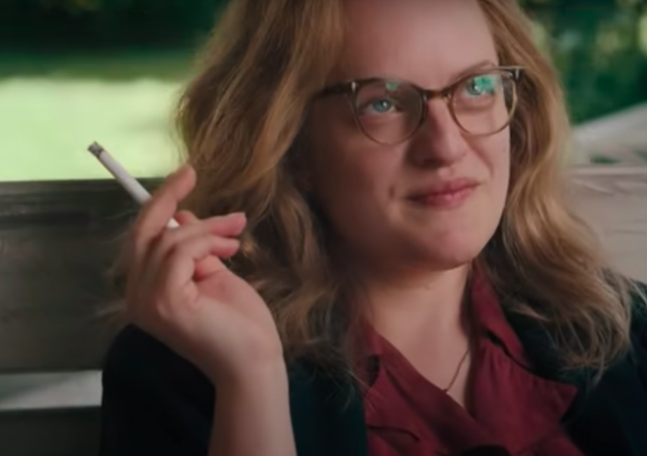 Elizabeth Moss as Shirley Jackson smoking a cigarette