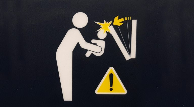 Warning sign of baby hitting its head