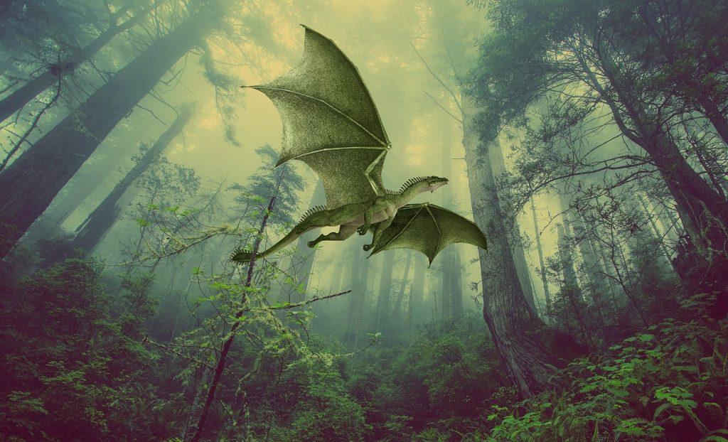 Green dragon flying through a forest