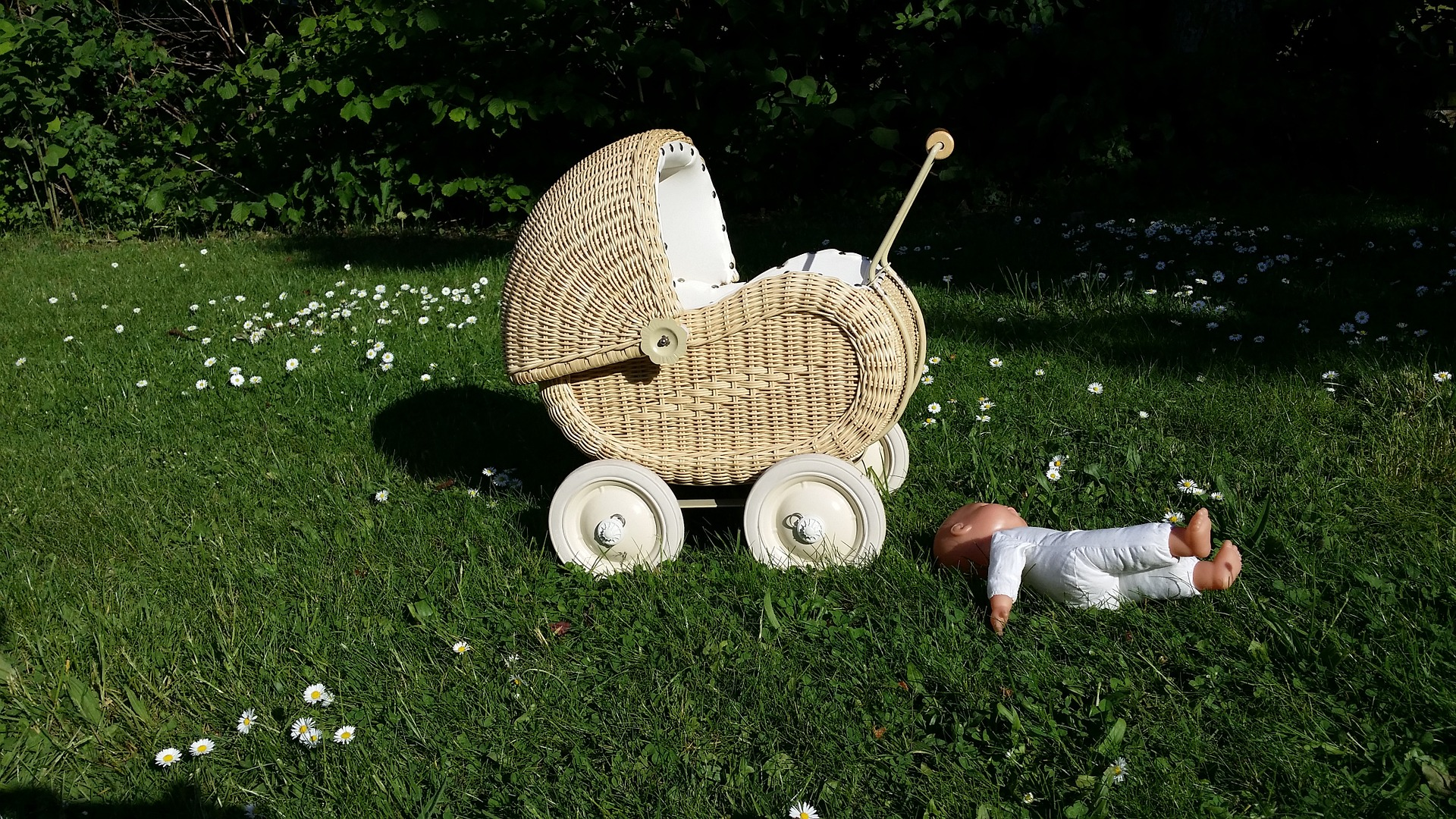 A wicker pram and baby doll lying in the grass