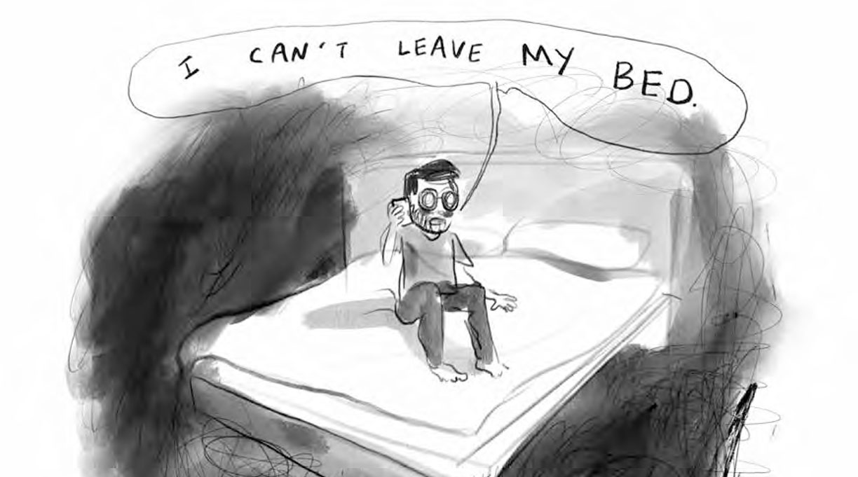 "Drawing of Jason sitting on his bed saying ""I can't leave my bed"""