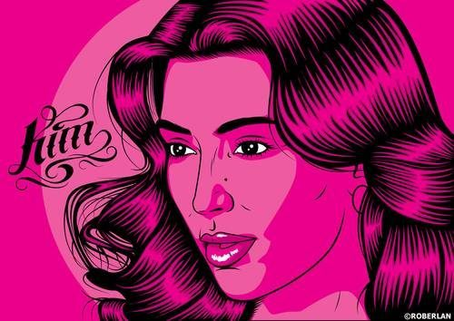 Illustration of Kim Kardashian on pink