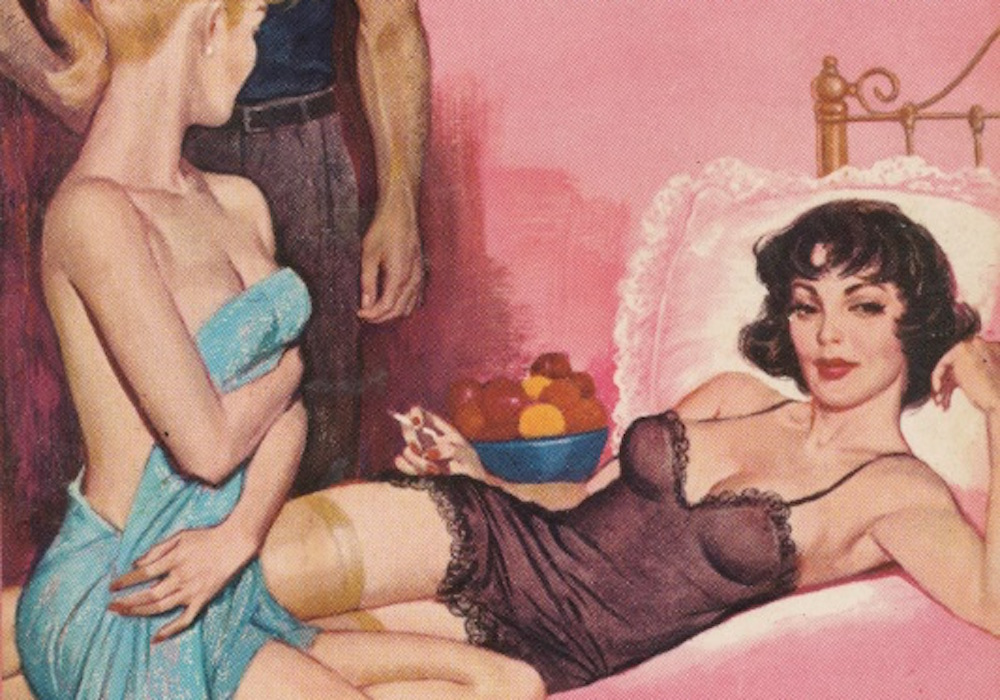Pulp novel cover showing two women lounging on a bed