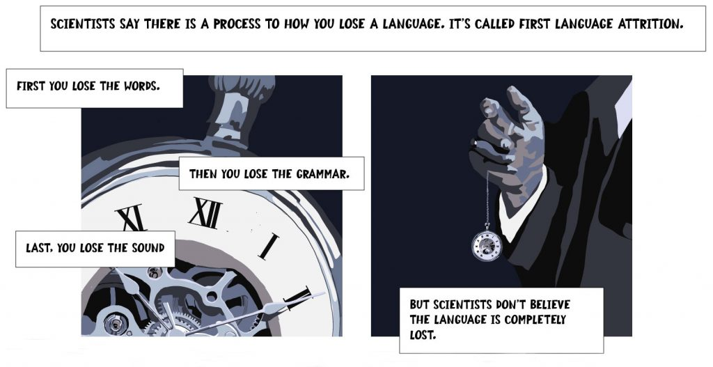 Scientists say there is a process to how you lose a language. It's called first language attrition. First you lose the words. Then you lose the grammar. Last, you lose the sound. But scientists don't believe the language is completely lost.