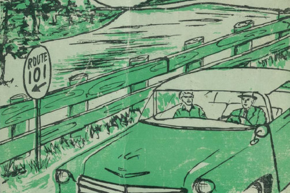 Green-tinted drawing of two people in an old-fashioned car