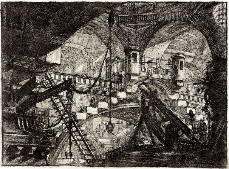 An engraving of a vast arched interior with a bridge and some mysterious machines
