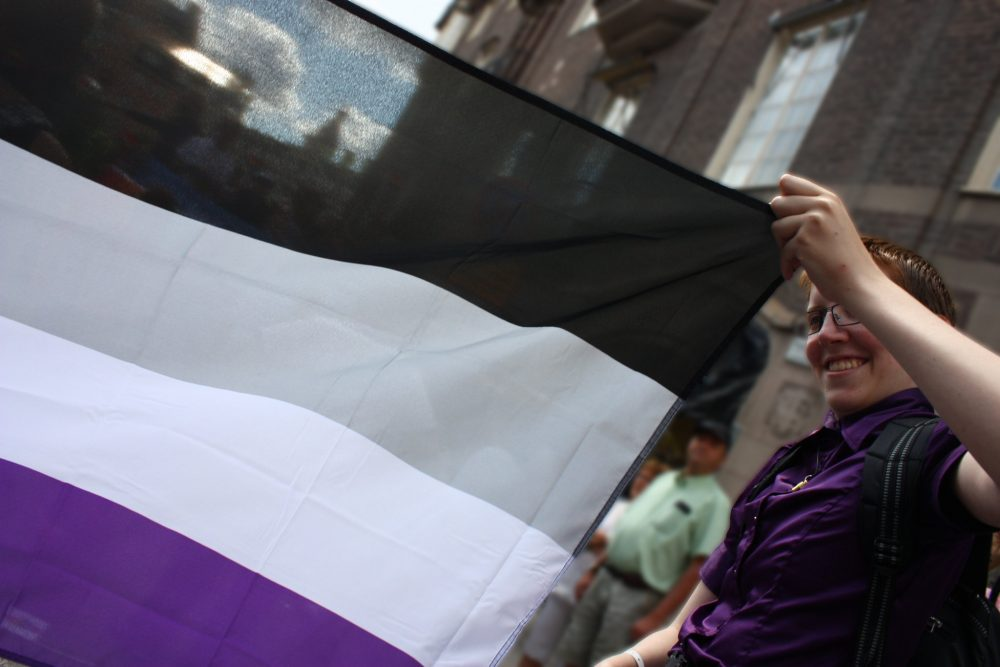 Person holding the black, grey, white, and purple asexual flag